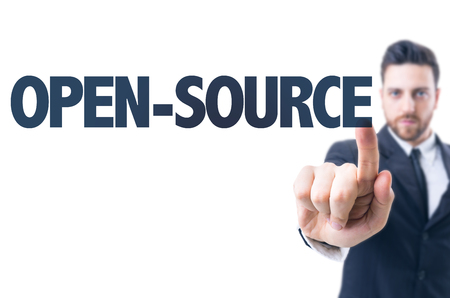 software portability: Business man pointing the text: Open-source