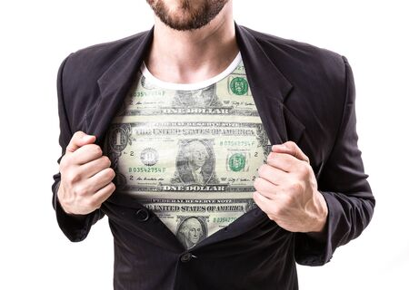 us dollars: Businessman stretching suit with USD banknote top on white background