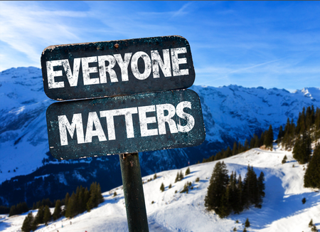 everyone: Everyone matters sign with outdoors background Stock Photo
