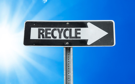 recycle sign: Recycle sign with arrow on sunny background