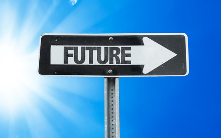 future sign: Future sign with arrow on sunny background Stock Photo