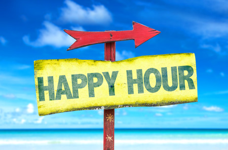 Happy hour sign with arrow on beach background