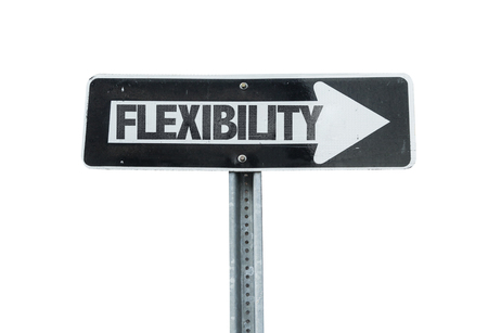 flexibility: Flexibility sign with arrow on white background