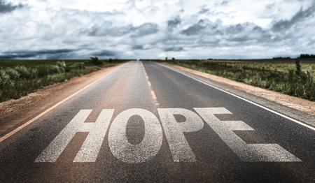 Hope written on the road Stock fotó