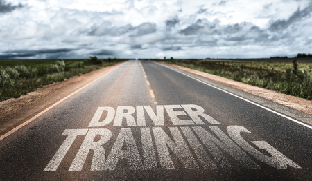 Driver training written on the road