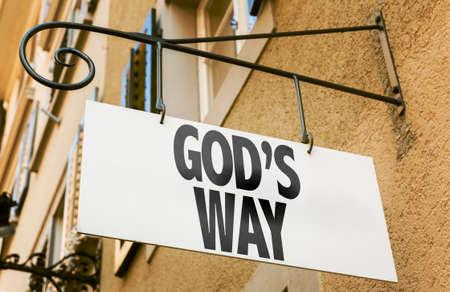 gods: Gods way signpost on building background