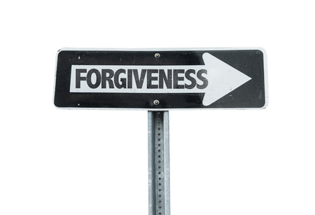 remorse: Forgiveness sign with arrow on white background