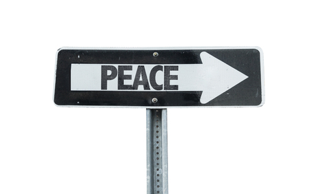 redemption of the world: Peace sign with arrow on white background