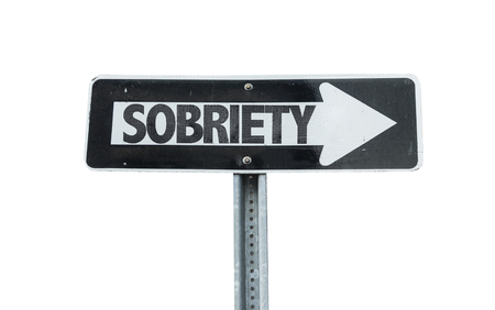 sobriety: Sobriety sign with arrow on white background