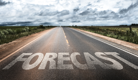 forecaster: Forecast written on the road Stock Photo