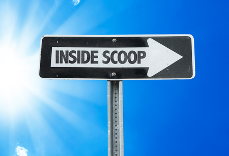 informant: Inside scoop sign with arrow on sunny background