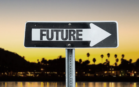 future sign: Future sign with arrow on sunset background Stock Photo