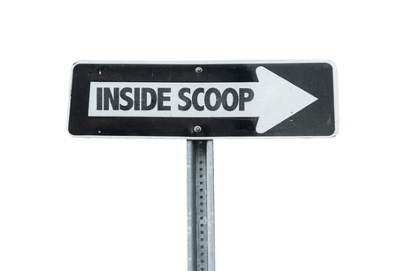 informant: Inside scoop sign with arrow on white background