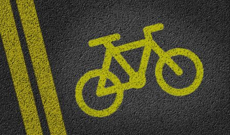 road bike: Bike lane symbol on tar road