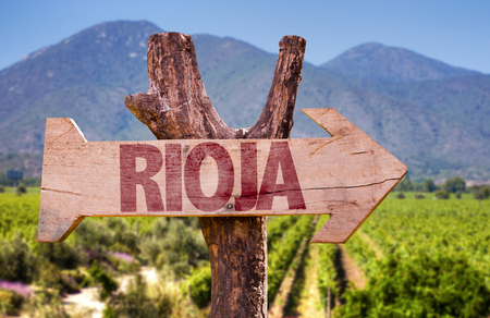rioja: Wooden sign board in park with text: Rioja Stock Photo