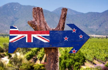 new zealand flag: New Zealand flag wooden sign board in park