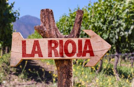 rioja: Wooden sign board in park with text: La rioja