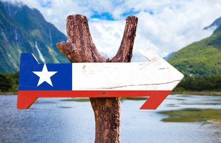 bandera de chile: Chile flag wooden sign board in wetland background