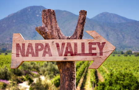 Drewniana tablica w parku z tekstem: Napa Valley