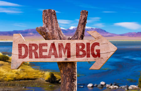 Wooden sign board in wetland with text: Dream big Stock Photo