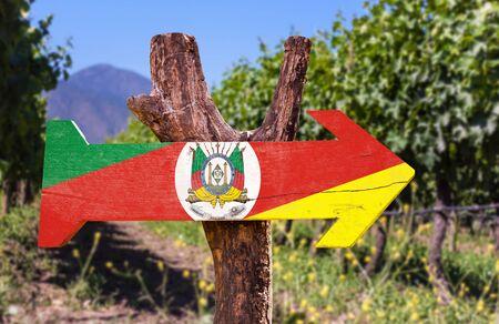 grande: Rio Grande do Sul flag wooden sign board in park