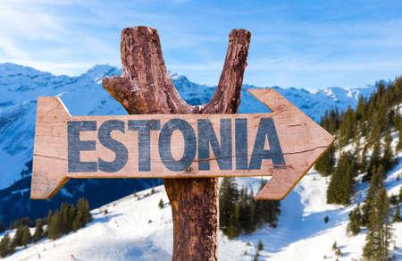 estonia: Estonia sign with outdoors background