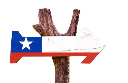 bandera de chile: Chile flag wooden sign board on white background