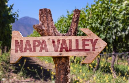 napa valley: Wooden sign board in park with text: Napa Valley