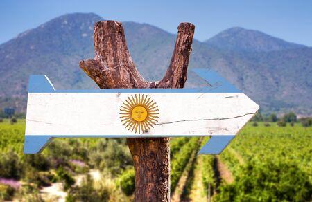 bandera argentina: Bandera de Argentina tablero de la muestra de madera en el parque Foto de archivo