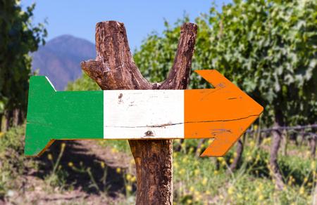 bandera de irlanda: Bandera de Irlanda del tablero de la muestra de madera en el parque Foto de archivo