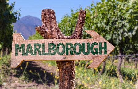 marlborough: Wooden sign board in park with text: Marlborough
