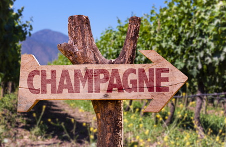 champagne region: Wooden sign board in park with text: Champagne Stock Photo