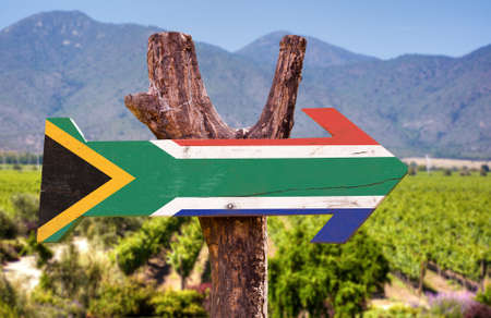 south africa flag: South Africa flag wooden sign board in park