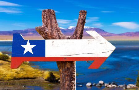bandera de chile: bandera de Chile tablero de la muestra de madera en el fondo de los humedales Foto de archivo