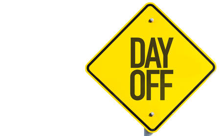 off day: Day off sign on white background