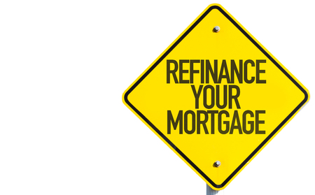 lender: Refinance your mortgage sign on white background