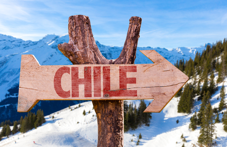 portillo: Chile wooden sign with winter background