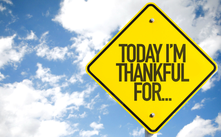Today Im thankful for...sign with clouds and sky background