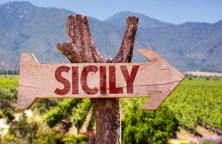 Sicilië houten bord met wijnmakerij achtergrond Stockfoto