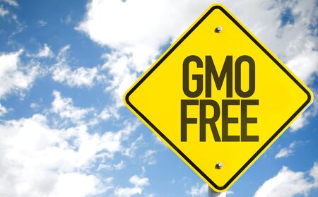 GMO free sign with clouds and sky background Stock Photo