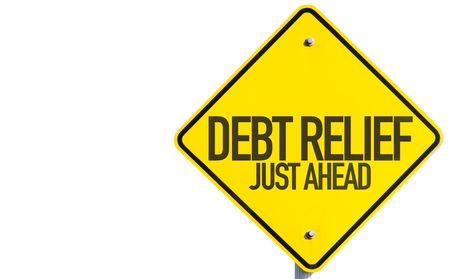 Debt relief just ahead sign on white background