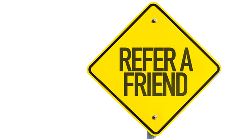 refer: Refer a friend sign on white background