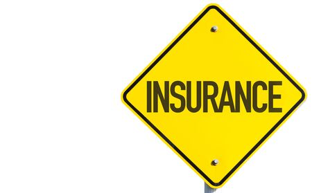 Insurance sign on white background