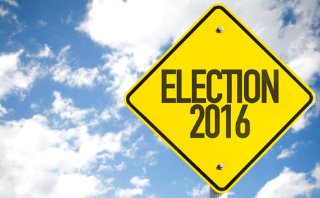 Election 2016 sign with clouds and sky background