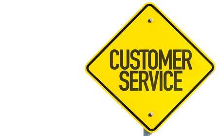 Customer service sign on white background Stock Photo
