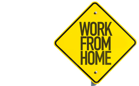 white work: Work from home sign on white background