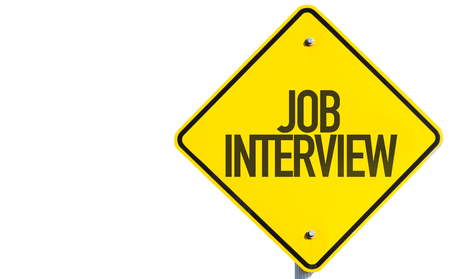 Job interview sign on white background