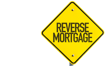 Reverse mortgage sign on white background