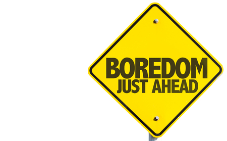 boredom: Boredom Just Ahead sign isolated on white background Stock Photo