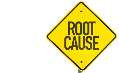 enquire: Root Cause sign isolated on white background